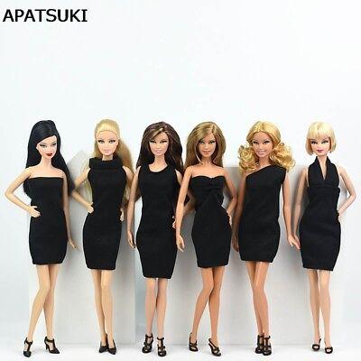 6pcs Black Little Dress For Barbie Doll Evening Dresses Clothes For Barbie Dolls