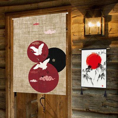 Japanese Noren Cotton Linen Koi Flower Crane Print Door Curtain Home Decor Retro (Noren Koi)