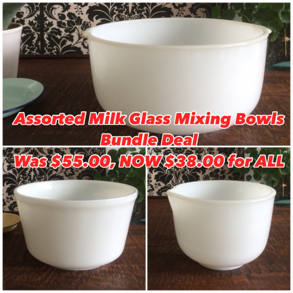 Assorted Milk Glass Mixing Bowls Special Bundle Deal