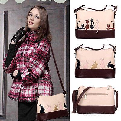 Women Leather Handbag Cat Rabbit Owl Shoulder Bag Girl Crossbody Messenger Tote - Owl Tote