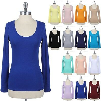 Women's Long Sleeve U Neck Top Solid LAYERING Basic Plain TEE Shirt Casual S M -