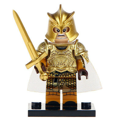 Golden Lego Moc Knight Minifigure, With Shiny Gold Armour & Sword