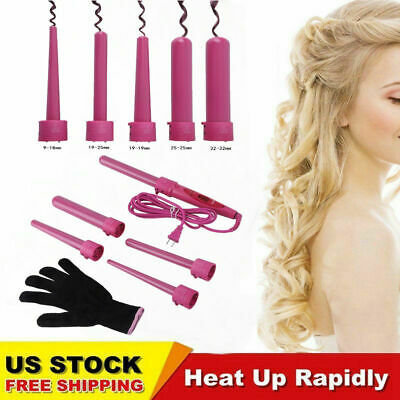 5 in1 Ceramic Hair Curler Interchangeable Iron LED Curling W