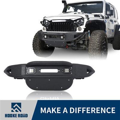 Hooke Road Tubular Front bumper w/ LED Lights for 07-18 Jeep Wrangler JK