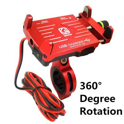 360° CNC Lenker Ladegerät Motorrad Steckdose Schalter Halterung Wasserdicht ROT online kaufen