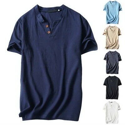 Men Casual V-neck Cotton Linen Basic Blouse Tops Tee T-shirt Summer Henley US