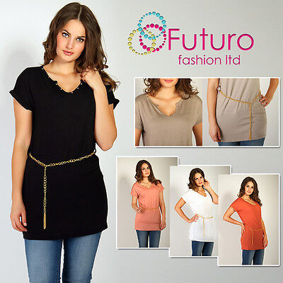 Sexy Tunic with Gold Glitter & Chain Blouse V-Neck Top Size 8-12 FT1057 Sexy Gold-glitter