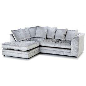 new left arm silver crushed velvet corner sofa