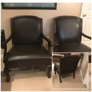 Traditional Style Brown Leather Bergère Arm Chairs Pair (2)