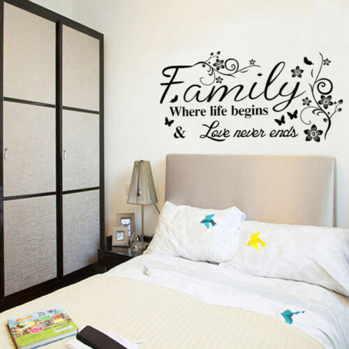 Home Decoration - Large Family Wall Quotes Decal Wall Stickers Butterflies Home Art Decor t
