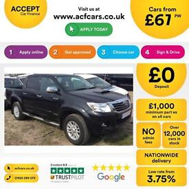 TOYOTA HILUX 2.4 D 3.0 D4-D INVINCIBLE X 4WD CrewCab Pick-up FROM £67 PER WEEK!