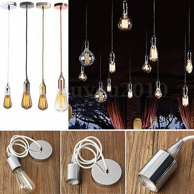 (E27 Ceiling Rose Braided Fabric Flex Pendant Lamp Holder Light Hanging Fitting)