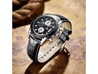 New Luxury Mens Chronograph Sport Watch Black with leather Strap