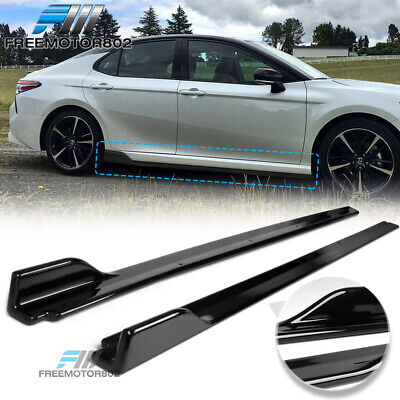 Fits 18-20 Toyota Camry V3 Style Side Skirts Extensions Gloss Black LH RH - PP
