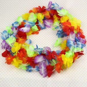 50 Lei Unisex Fancy Dress Flower Garlands Necklace Hawaiian Tropical Beach Party