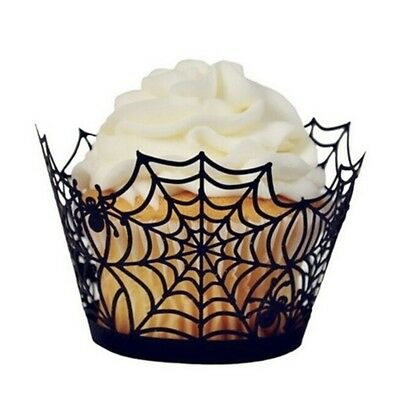 Cupcake Paper Halloween Spiderweb Cake Puff Wrappers Castle Cut Hold Newly 12PCS