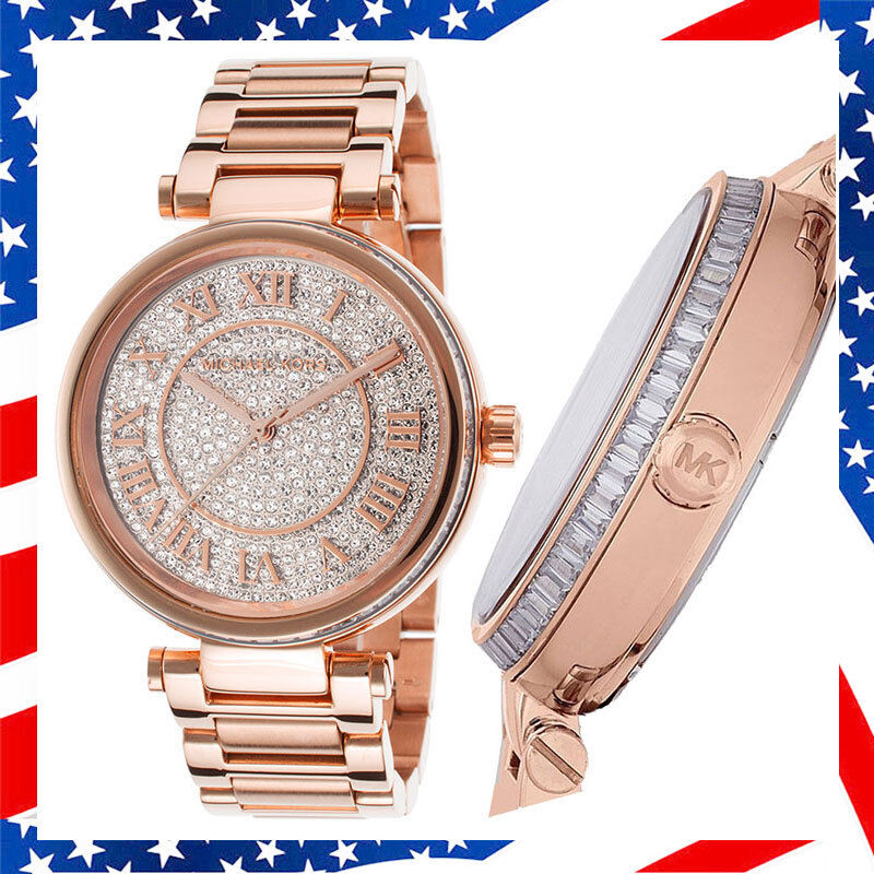 100% New Authentic Michael Kors Skylar Crystals Dial Lady Rose Gold Watch