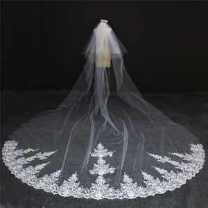 Beautiful Lace Edge 2 Tier 4 Meter Ivory Wedding Veil with Comb