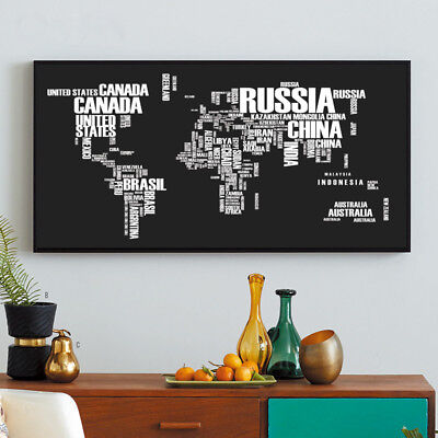 Banner World Map Abstract Art Letter Silk Canvas Poster Painting No Frame BM02