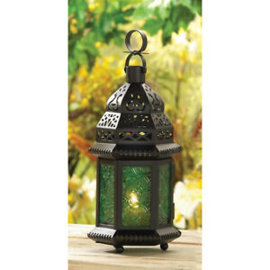 Green Glass Moroccan Lantern Candle Holder BRAND NEW