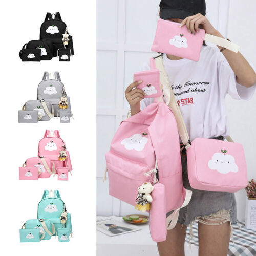 5Pcs/Set Girl School Bags Teenagers Backpack Women Shoulder