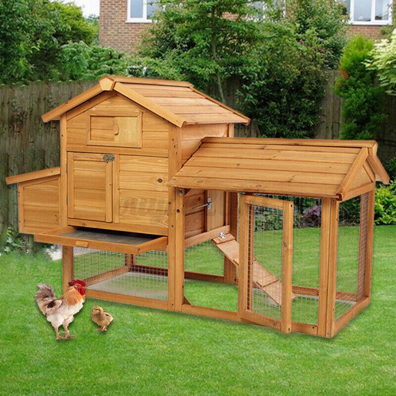 Wooden Backyard Chicken Coop Hen House Rabbit Hutch Enclosure Poultry Pet Cage