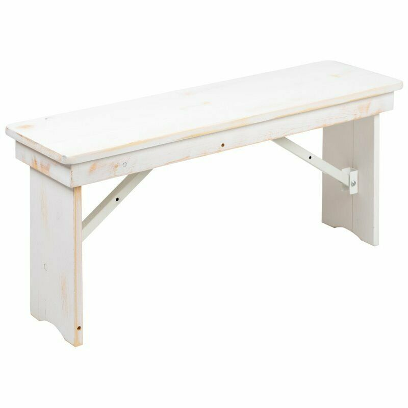 "Flash Furniture Hercules 40"" x 12"" Folding Farm Dining Bench in Antique White"