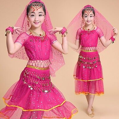 Belly Dance Costume Bead Coins for Girls Kid's Halloween Outfits Set Bollywood