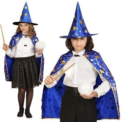 Zauberer UMHANG mit HUT Kinder Kostüm für Jungen & Mädchen - Karneval - Zauberer Kostüm Für Jungen