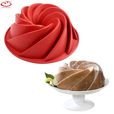 Large Spiral Shaped Bundt Cake Pan Bread Bakeware Silicone Mold DIY Baking Tool