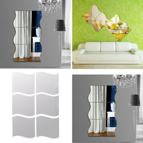 Home Decoration - 6Pcs Self-Adhesive Mirror Tiles Kitchen Wall Sticker Stick on Decal Home Decor