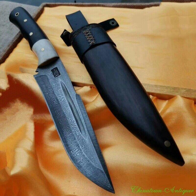 HUSA Hunting Knife Camping Knife Dagger Short Sword Pattern Steel Sharp #2209