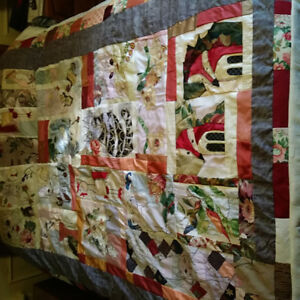 "Hand Made  Quilt/Bedspread, ""Cats and Birds"""