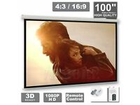 "100""inch Electric Motorised Projector Screen Home Cinema 4:3 16:9 Remote HD TV"