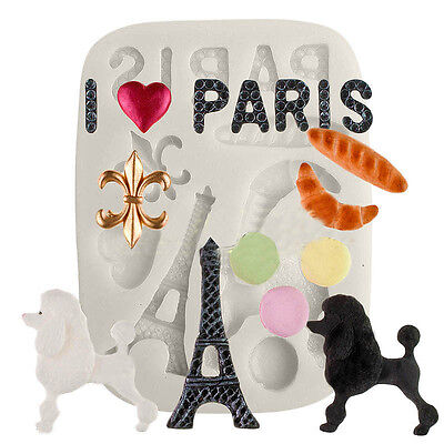 Eiffel Tower Paris Dog Silicone Fondant Mould Cake Decor Icing Sugarcraft Mold