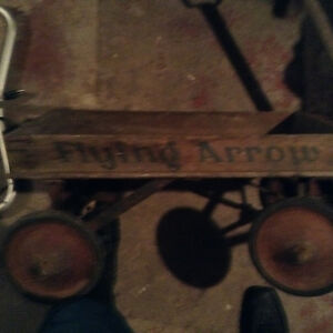 Vintage Flying Arrow child's wooden wagon