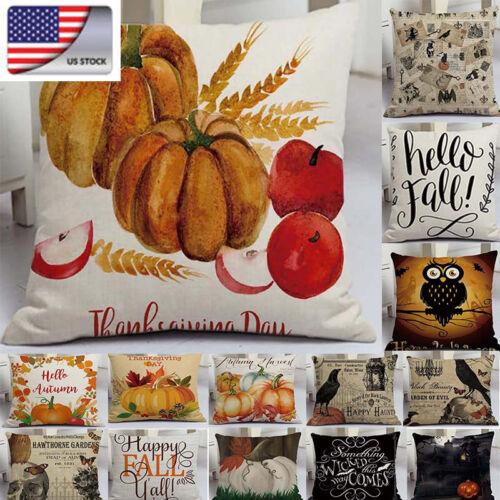 US Halloween Pillows Cover Fall Decor Pillow Case Sofa Waist