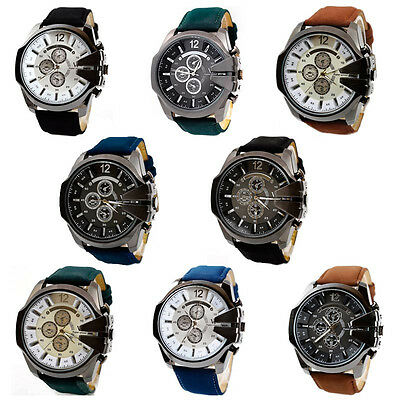 Luxury Mens Analog Quartz Sport Watch Steel Case Dial Pu Leather Wrist Watch