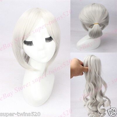 Silver White Cosplay Wig + Long Wavy Claw Ponytail Anime Movie Wig by Shizuma ~~ (Movie Wigs)