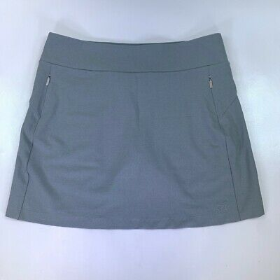 Cutter & Buck DryTec Womens Activewear Golf Skort Gray Stretch Zipped Pocket XL