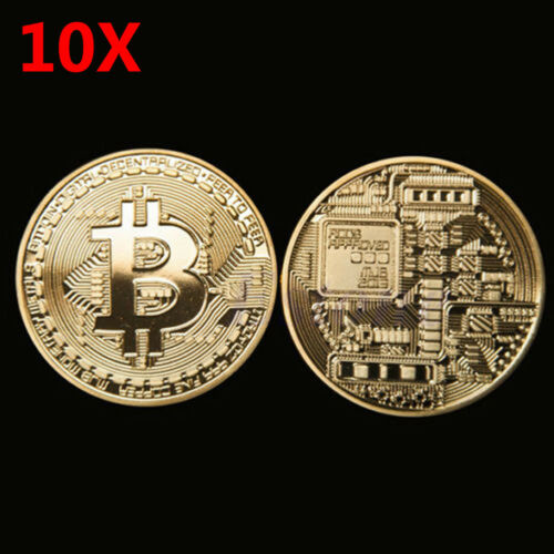 10PC Gold Plated Bitcoin Coin Collectible Gift BTC Coin Art Collection Physical