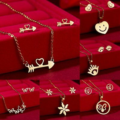 Stainless Steel Jewelry Set Gold Heart Butterfly Pendant Chain Necklace Earrings ()