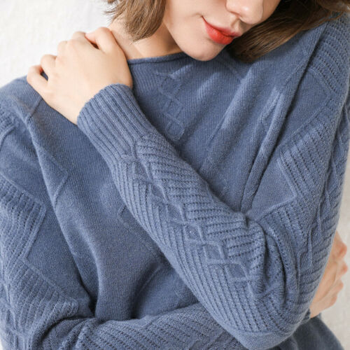 Sweaters 100/% Cashmere Warm O-Neck Winter Knitted Pullovers And Auntmun Woman