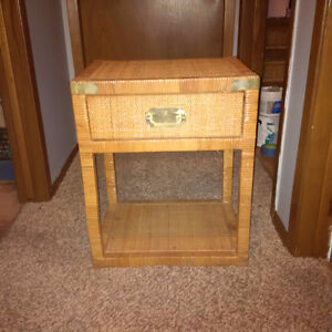2 wicker end tables