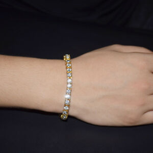 8inch Men Bracelet Silver/Gold Iced Out Rhinestone