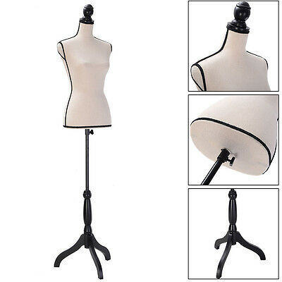 Female Women Mannequin Torso Dress Form Display W/ Black Tripod Stand Fashion