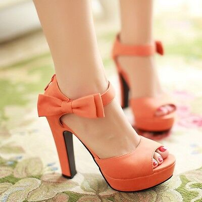 Fashion Womens Ankle Bowknot Strap High Heels Platform Sandals Open Toe Shoes Sz