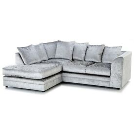 ⭕🛑BEST SELLING BRAND⭕🛑BRAND New Dylan Crush Velvet Corner or 3 and 2 Sofa in Black, Silver or Mink