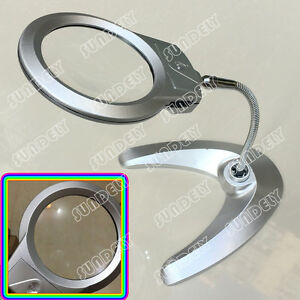 LED LAMP STAND DESKTOP MAGNIFYING GLASS Heavy Duty Flexible Magnifier Desk