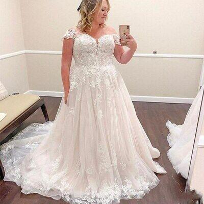 Plus Size Wedding Dresses Applique A Line Cap Sleeves  Beach Bridal Gown Custom